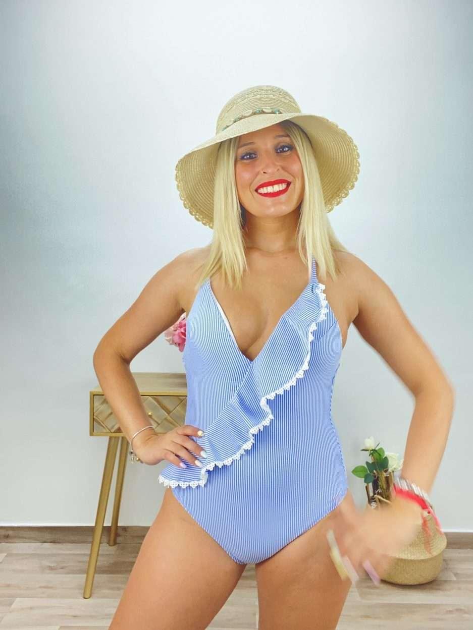 posat divina bañador rayas azul claro