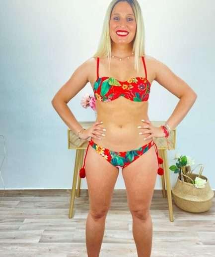 posat divina bikini flores rojo borlas