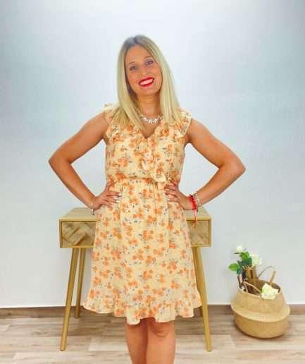 posat divina vestido floral melocoton