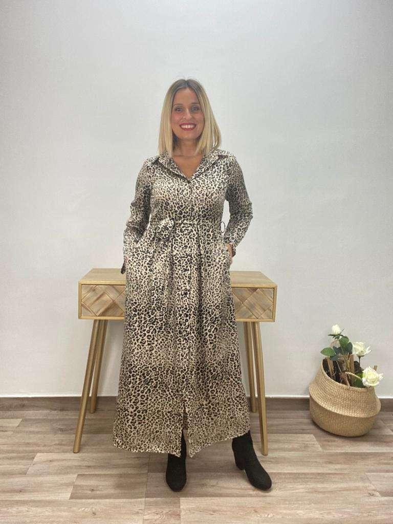 posat divina vestido largo animal print